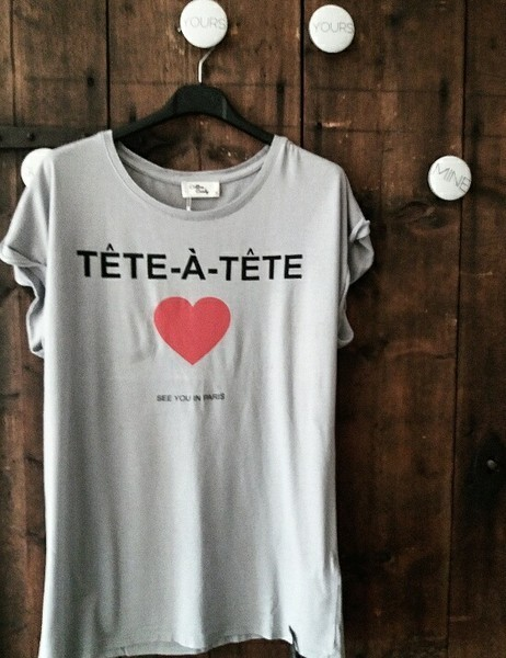T-Shirt 'TETE A TETE' in Grau - Cotton Candy