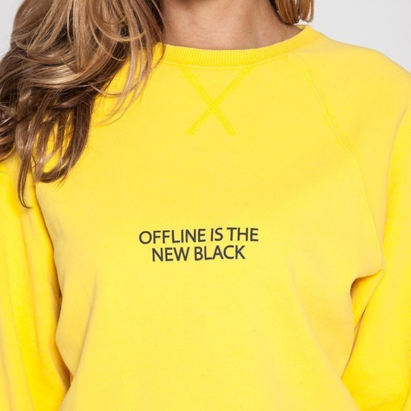 sweatshirt 'offline is the new black' in gelb - cotton candy