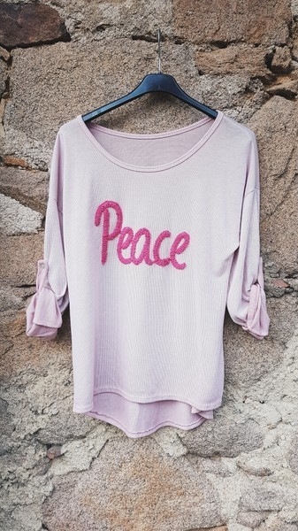 langarmshirt 'peace' in rosa - ...by sl