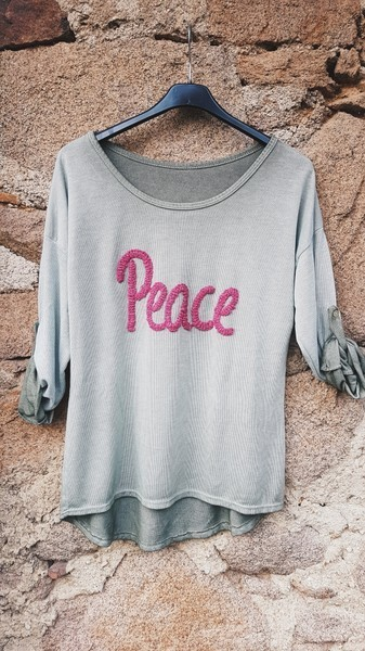 langarmshirt 'peace' in grün - ...by sl