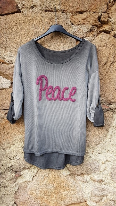 langarmshirt 'peace' in grau - ...by sl