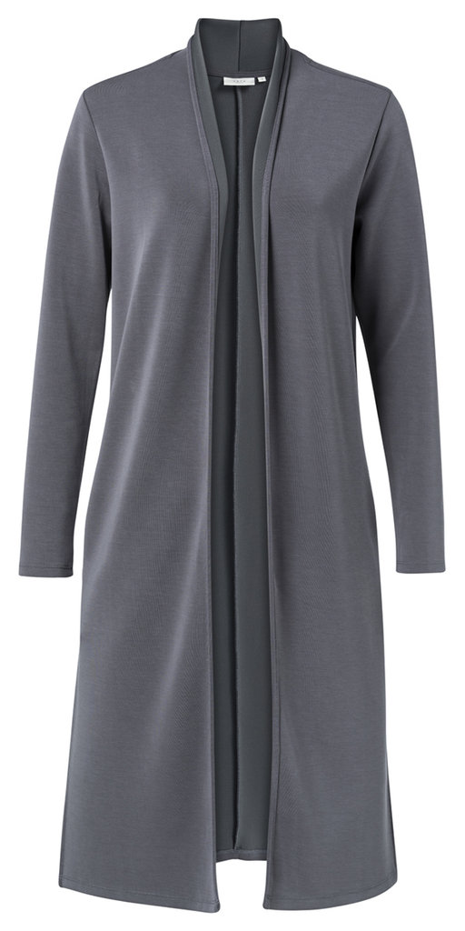 long cardigan mit scarf collar in deep sea blue - yaya