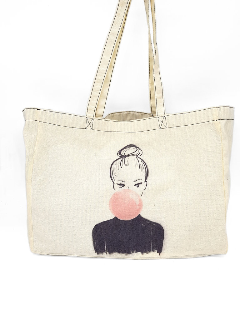 "canvas shopper ""bubble gum lady"" - kera till"